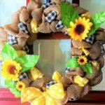 DIY ribbon wreath hanging on door