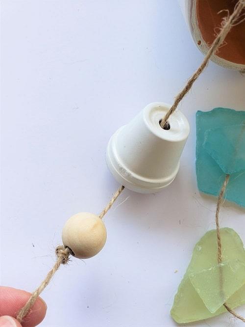 Adding a wooden bead