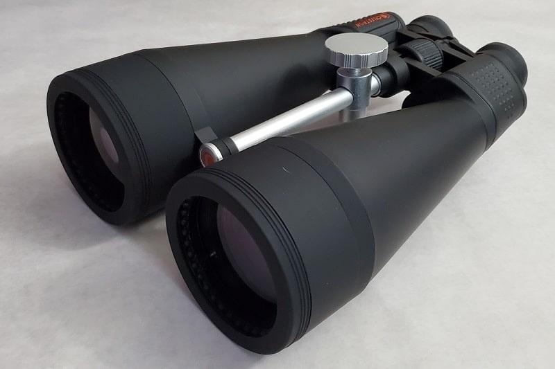 Celestron 20x80 binoculars view of lenses